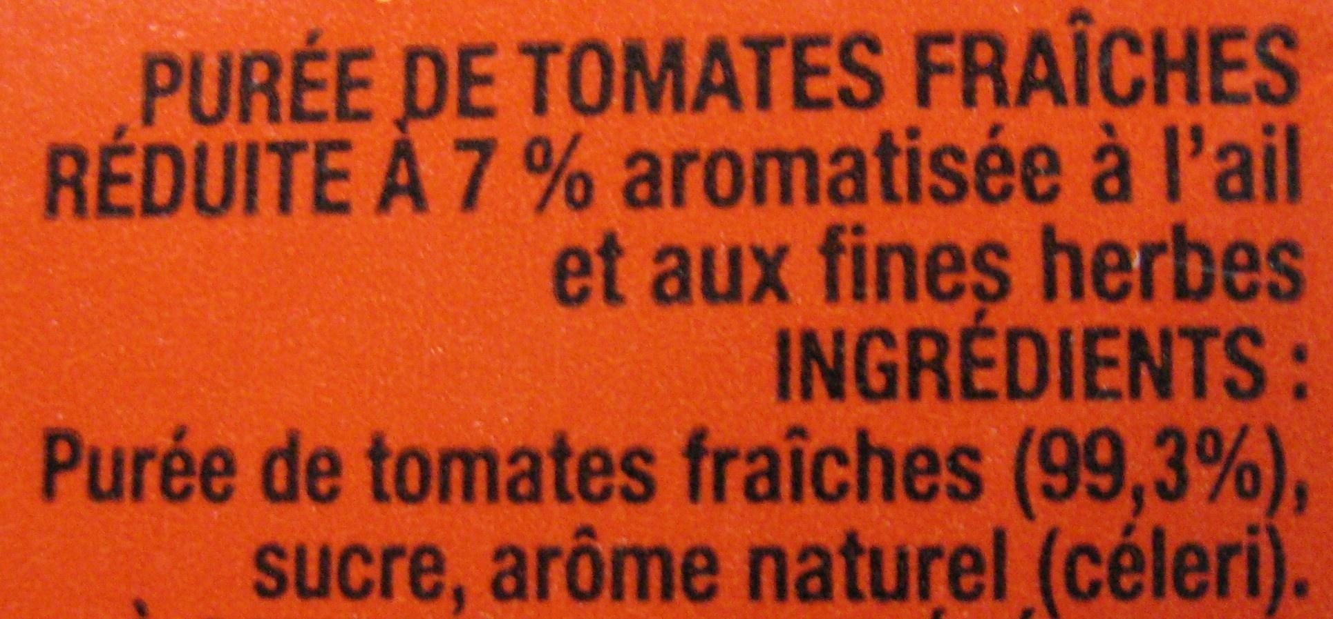 Tomacouli aux Tomates Fraîches saveur ail et fines herbes 500 g - Ingredients - fr