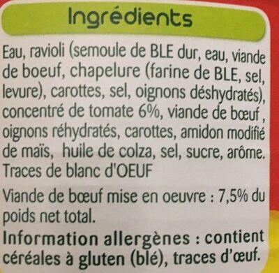 Le Ravioli, Pur Bœuf - Zutaten - fr