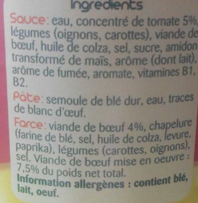 Le Ravioli (Pur Bœuf) - Ingrédients