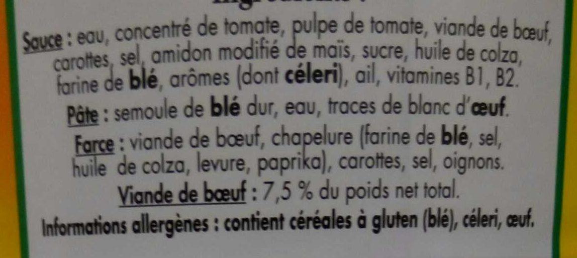 Ravioli pur boeuf sauce italienne - Ingrédients - fr