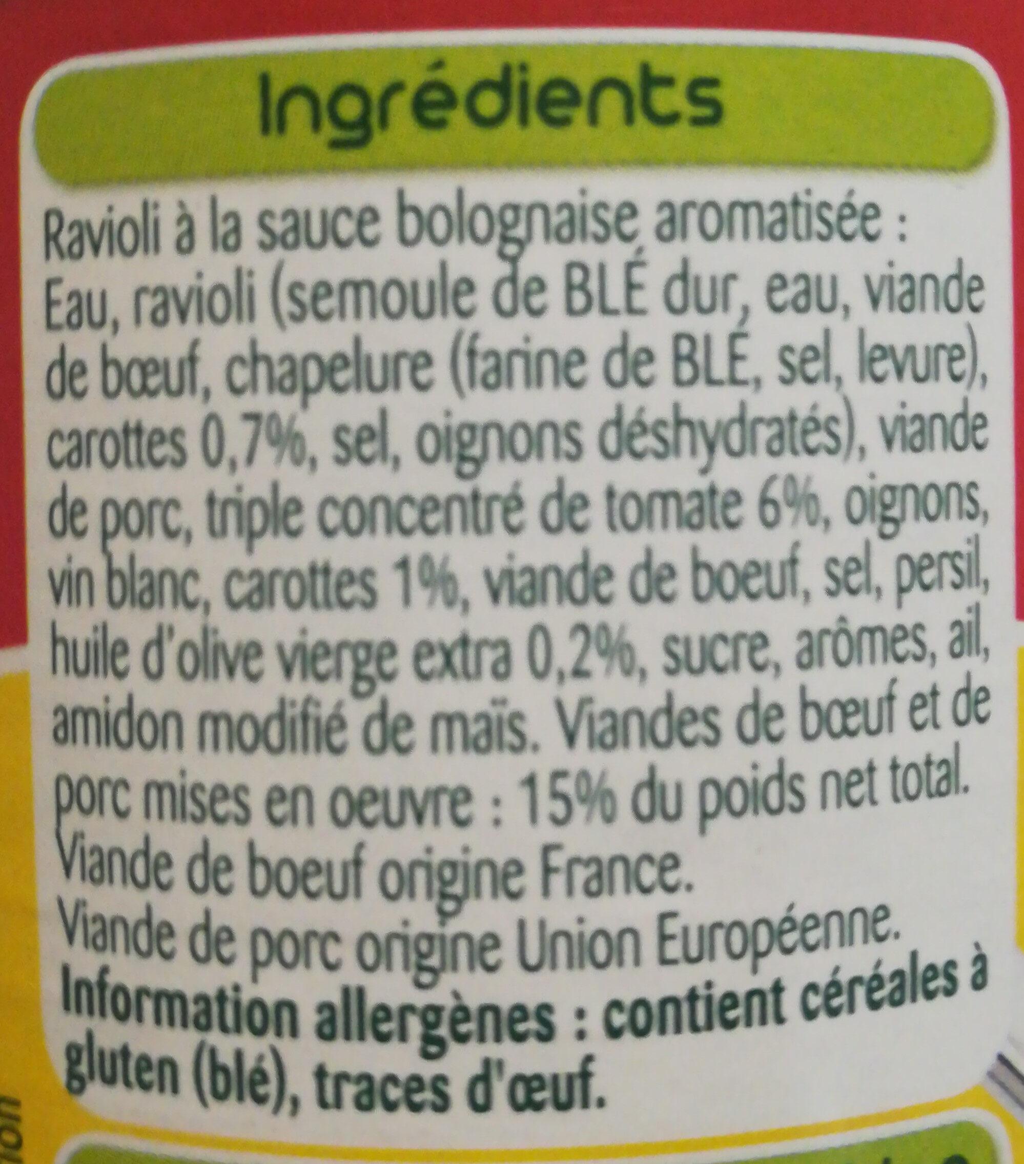 Le Ravioli Bolognaise - Ingrédients - fr