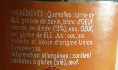 Quenelles de volaille au naturel - Ingrédients - fr