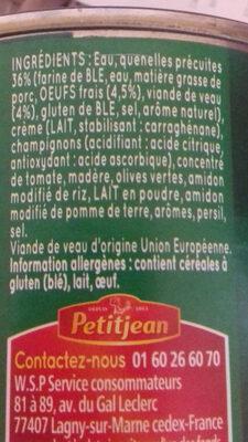 Quenelles de Veau, Sauce Financière *6 - Ingrédients