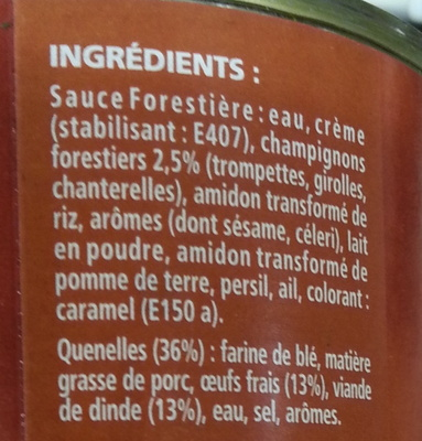6 Quenelles de Volaille, Sauce Forestière - Ingrediënten
