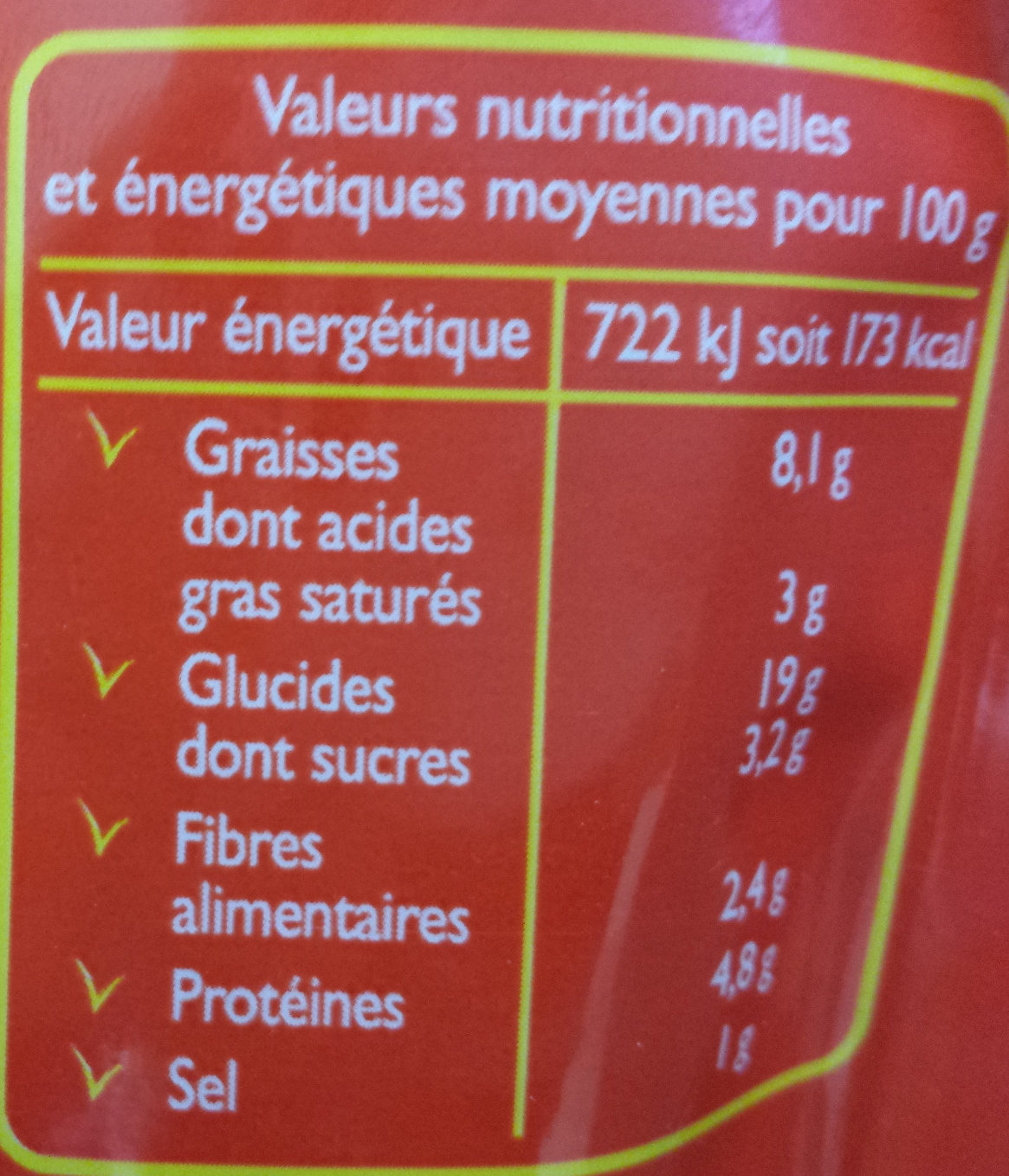 Tortellini Tomate Fromage Express - Informations nutritionnelles - fr