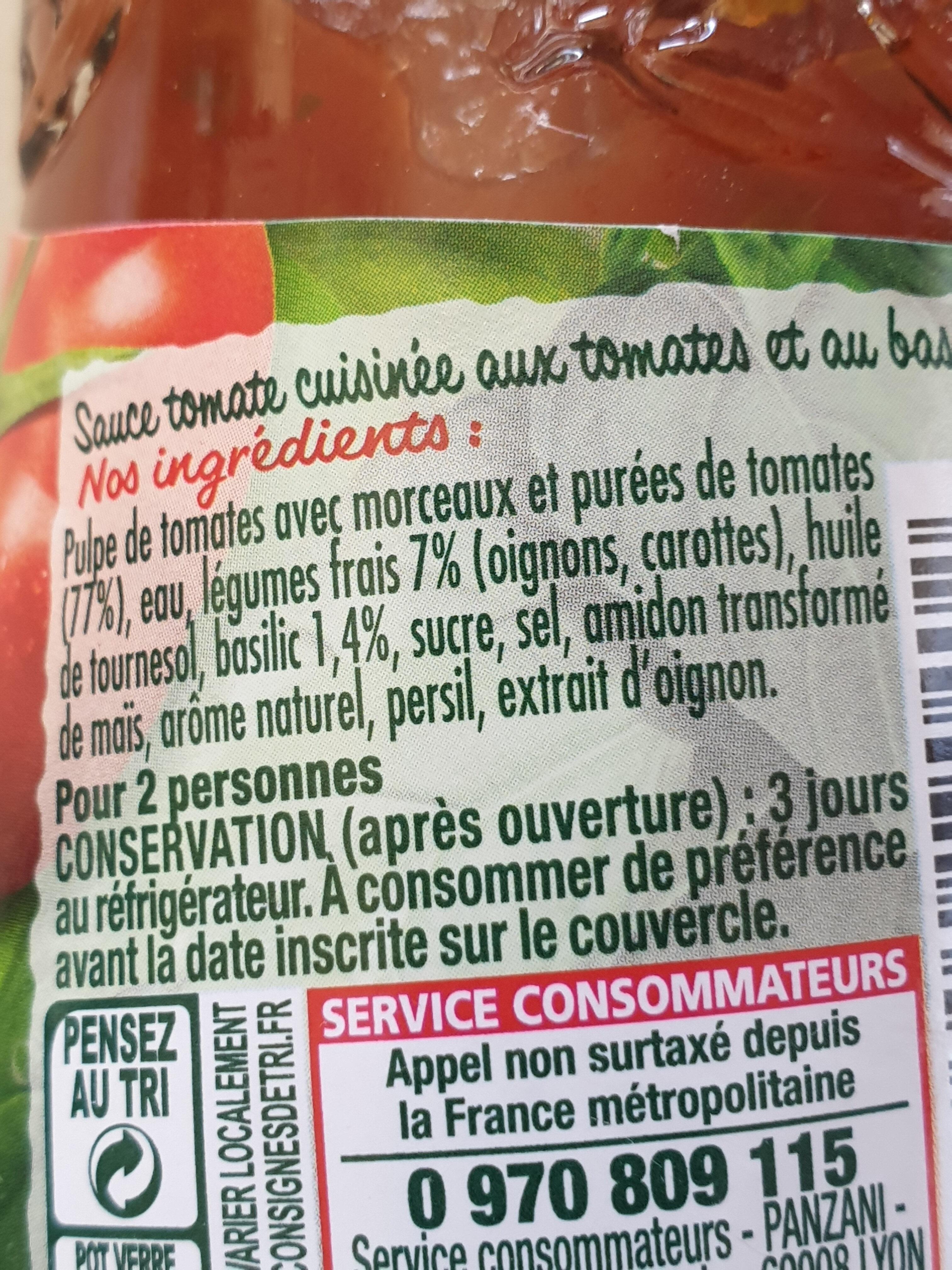 Panzani - spf - sauce tomates & basilic - Ingredienti - fr
