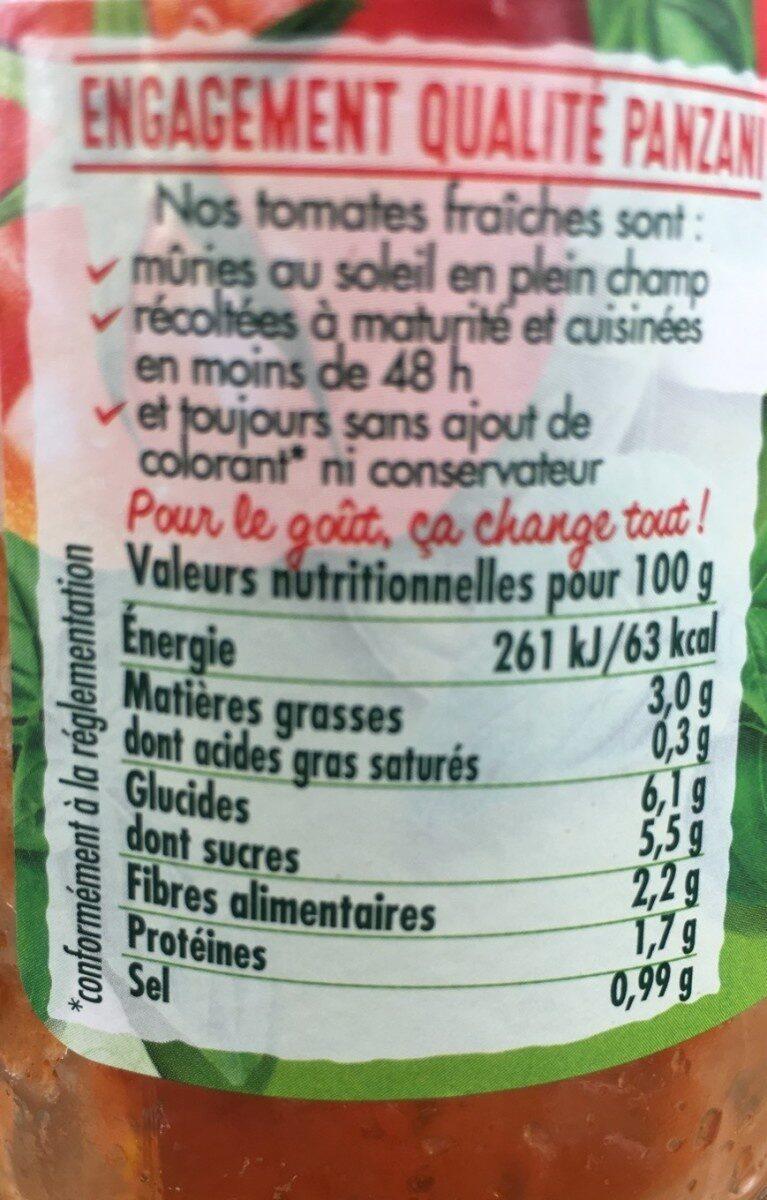Panzani - spf - sauce tomates & basilic - Valori nutrizionali - fr