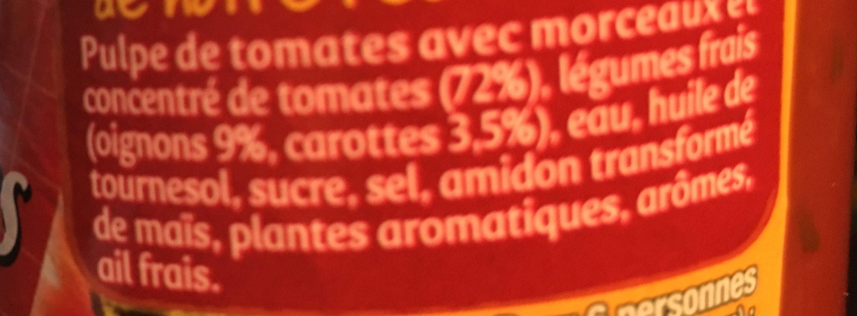 Panzani - spf - sauce tomates cuisinées - Ingrédients - fr