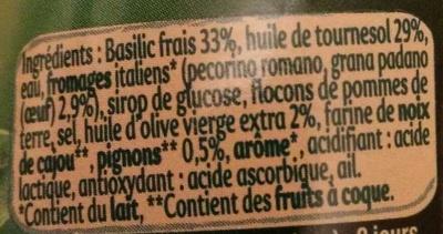 Panzani Sos Pesto Basillico cu branzeturi italiene - Ingredients