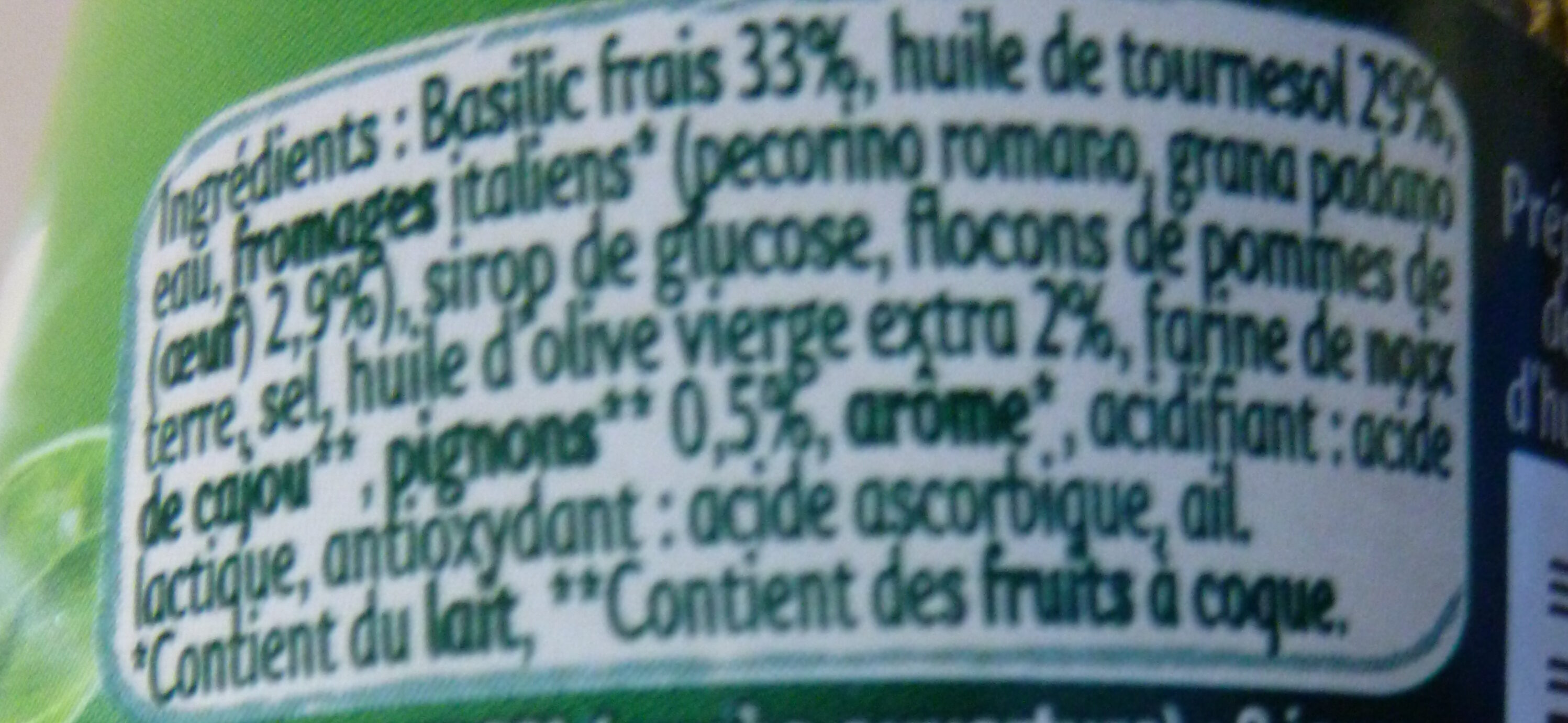 Panzani - spf - sauce pesto vert - Ingrédients - fr