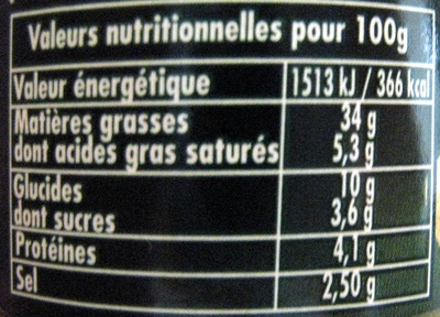 Panzani Sos Pesto Basillico cu branzeturi italiene - Nutrition facts