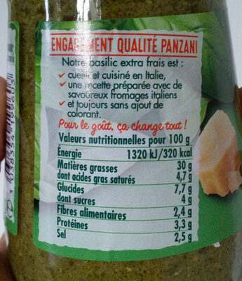 Panzani - spf - sauce pesto vert - Informations nutritionnelles - fr