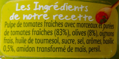 Panzani - spf - sauces olives & basilic - Ingrédients - fr