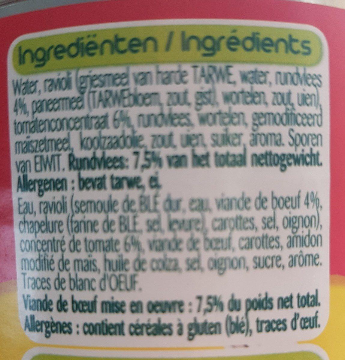 Ravioli Bolognese 800gr - Ingrediënten - fr