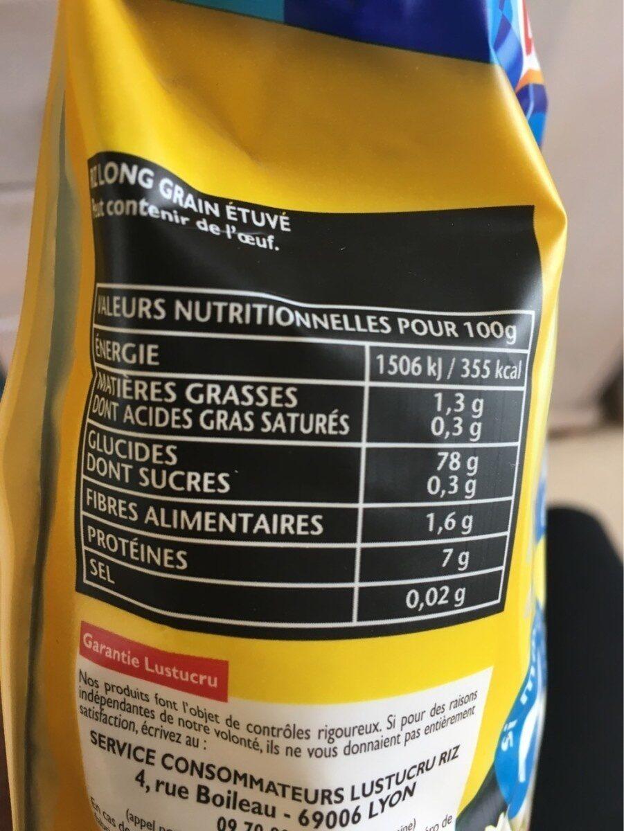 Le riz à poêler - Nature et tendre - Informations nutritionnelles - fr