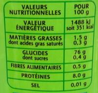 Riz pour risotto - Nährwertangaben