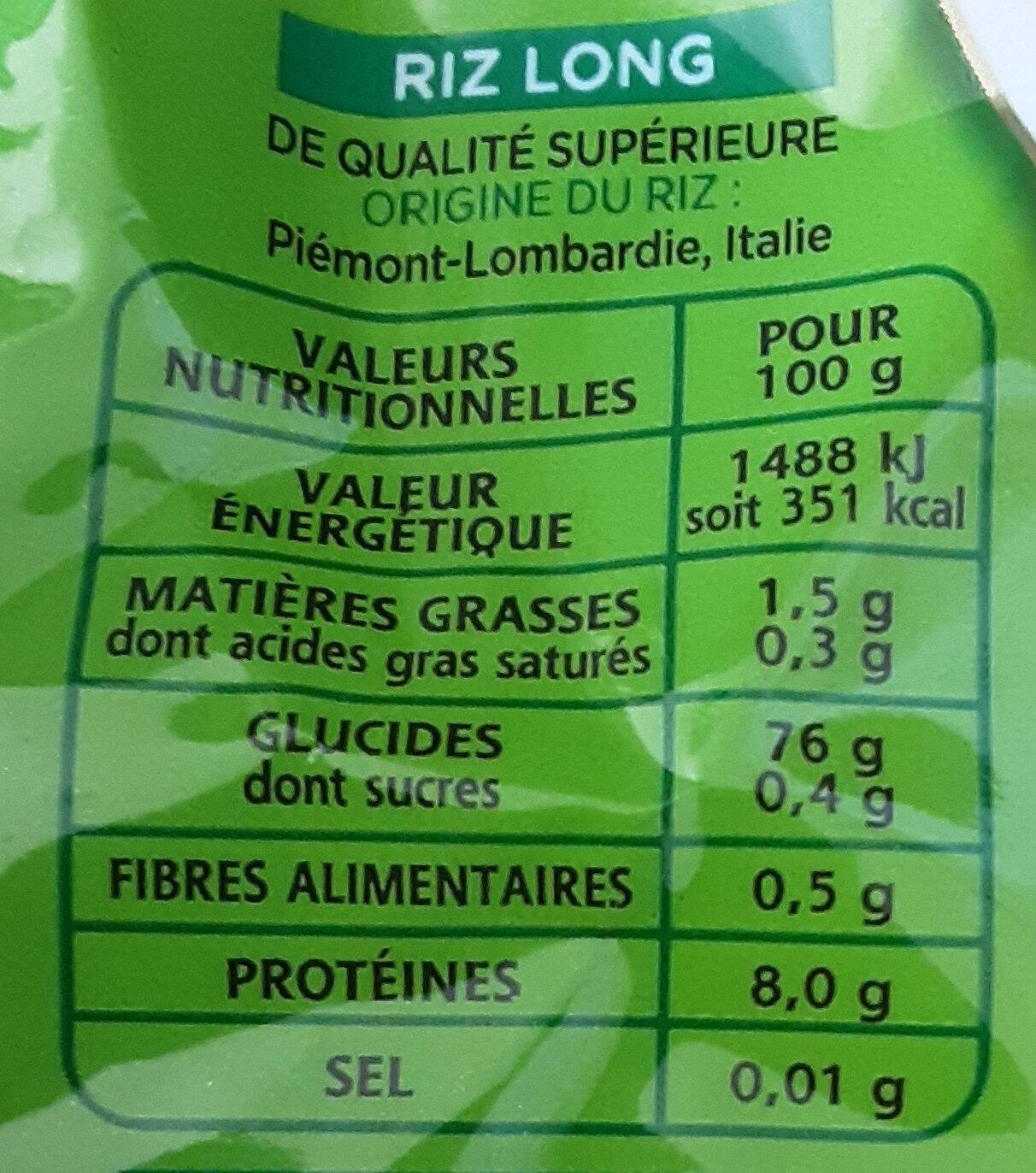 Riz pour risotto - Nährwertangaben - fr