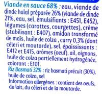Curry de Volaille riz basmati - Halal - Ingrédients - fr