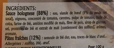 Lasagnes Bolognese - Ingrédients - fr