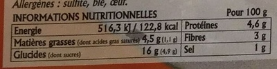 Lasagnes Bolognese - Informations nutritionnelles - fr