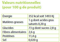 Panzani coquillette bio qualite superieure 3kg - Informations nutritionnelles - fr