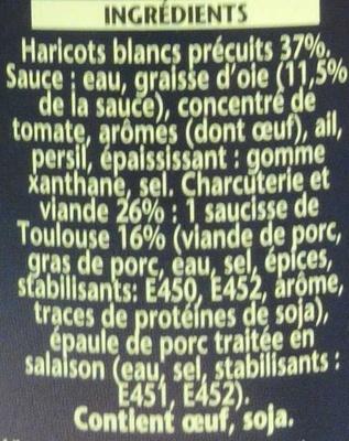Cassoulet toulousain à la graisse d'oie - Ingrédients