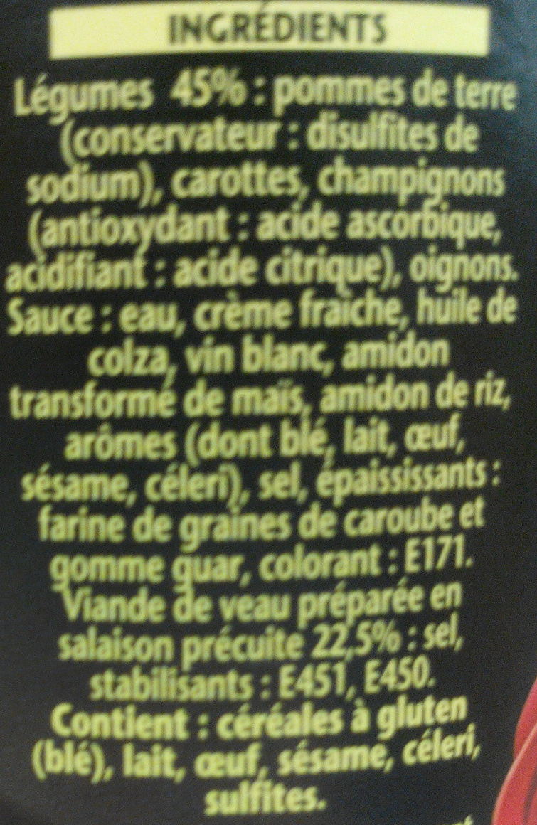 1898 Blanquette de veau - Ingredients