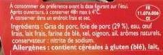 Pâté de Foie de porc - Ingrediënten - fr