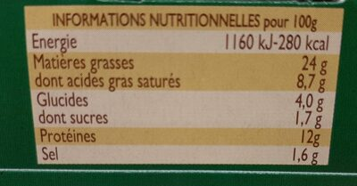 Pack 3X1 / 10 Pate Campagne William Saurin - Informations nutritionnelles - fr