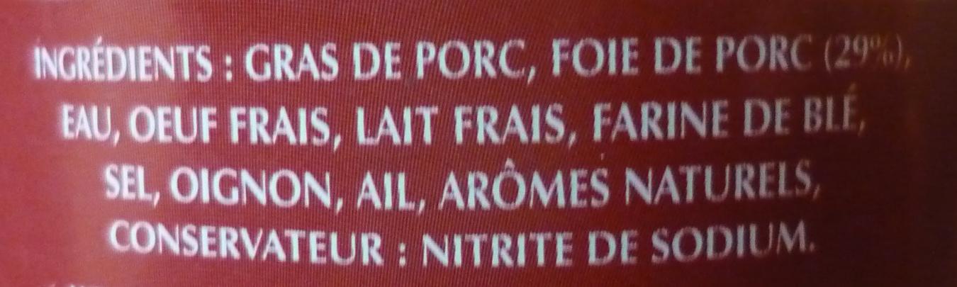 Pâté de Foie de porc - Ingrédients - fr
