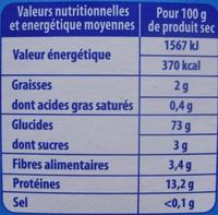 Graine de Couscous Fin (+ 25 % Gratuit) - Nutrition facts - fr
