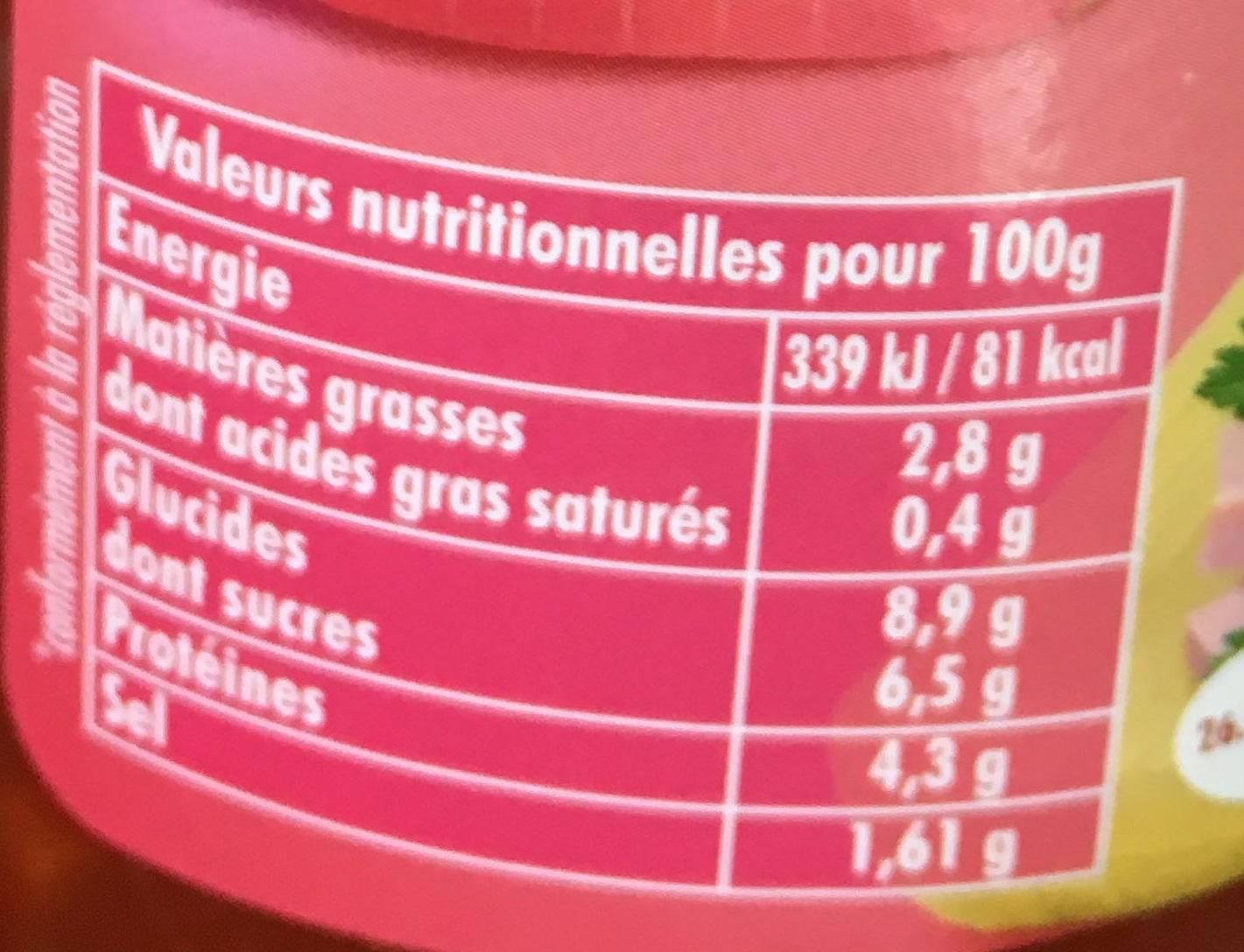 Bolognaise au jambon - Informations nutritionnelles
