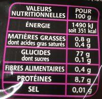 Le Riz Parfumé - Valori nutrizionali - fr