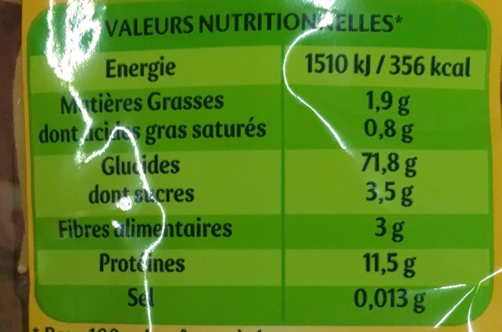 Capellini Facile - Informations nutritionnelles - fr