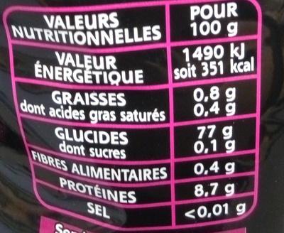 Le Basmati du Penjab - Valori nutrizionali - fr
