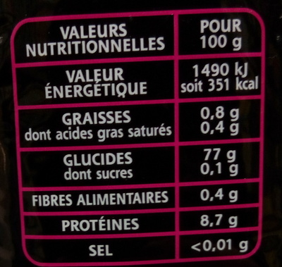 Le Basmati du Penjab - Informations nutritionnelles - fr