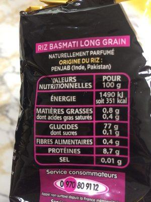 Le Basmati du Penjab - Informations nutritionnelles