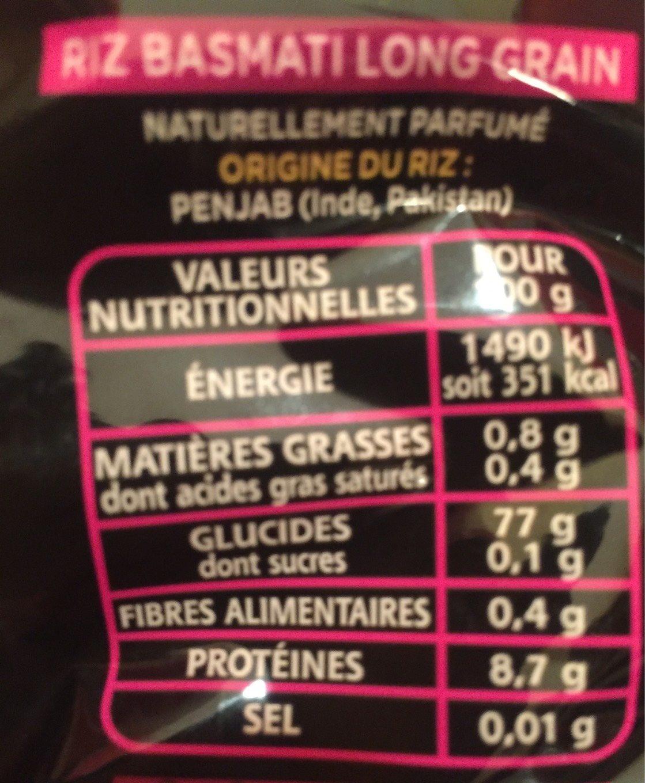 Riz Le Basmati du Penjab - Informations nutritionnelles