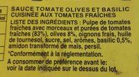 Sauce tomate olives et basilic - Ingrediënten