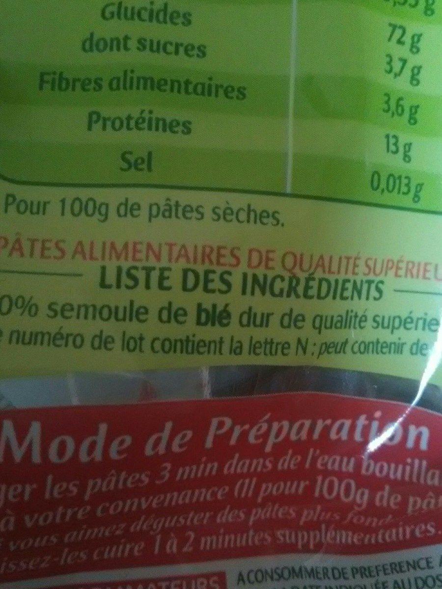 Lot de 2 paquets de Coquillettes cuisson 3 min 500 g - Ingrediënten