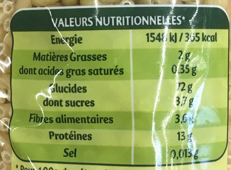Lot de 2 paquets de Coquillettes cuisson 3 min 500 g - Voedingswaarden