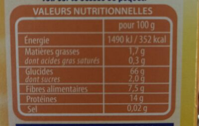 Boulgour - Nutrition facts - fr