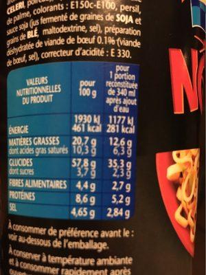 Banzai noodle - Informations nutritionnelles