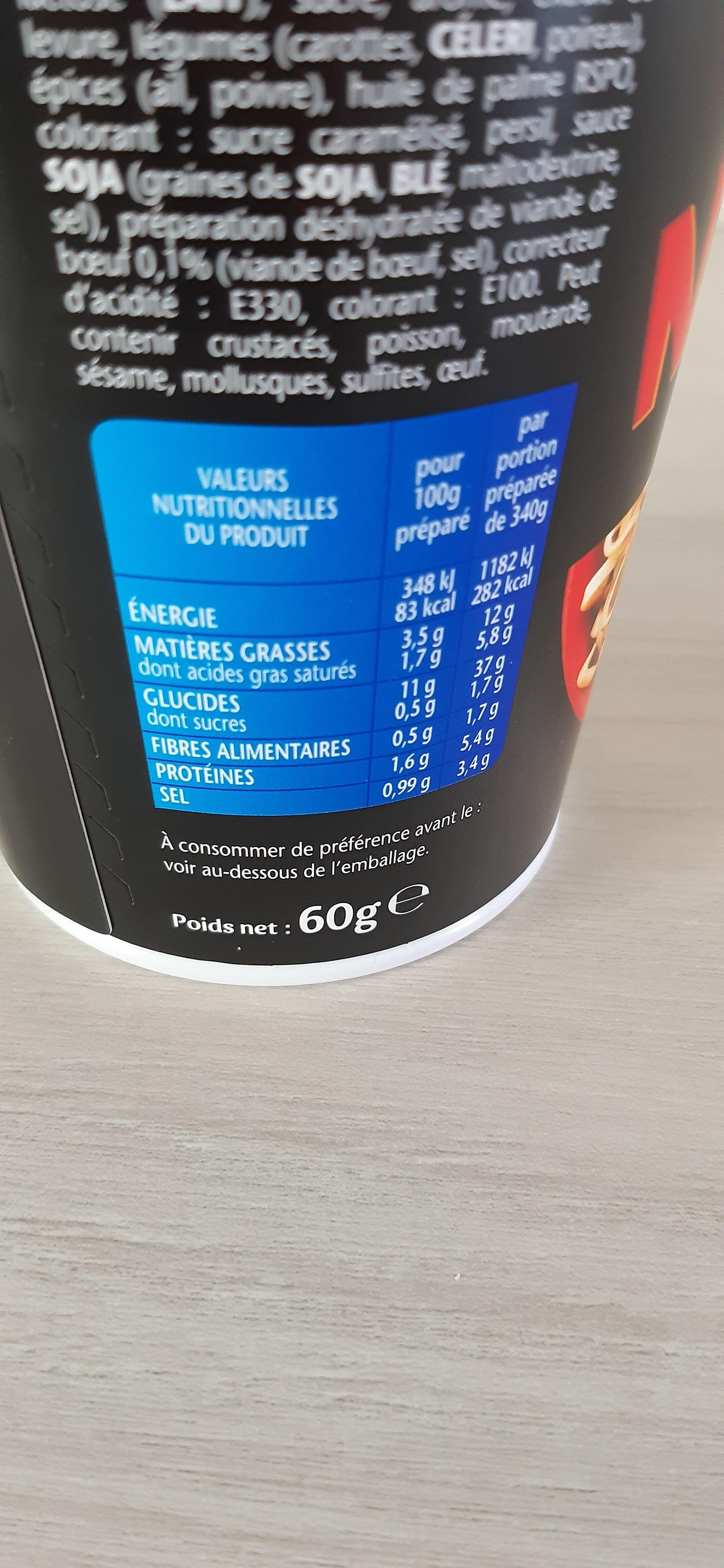 Banzai noodle - Nutrition facts - fr