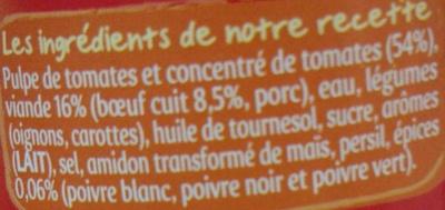 Bolognaise aux 3 poivres - Ingrédients - fr