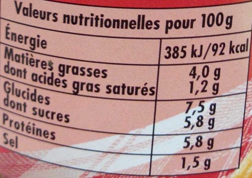 Bolognaise aux 3 poivres - Informations nutritionnelles - fr