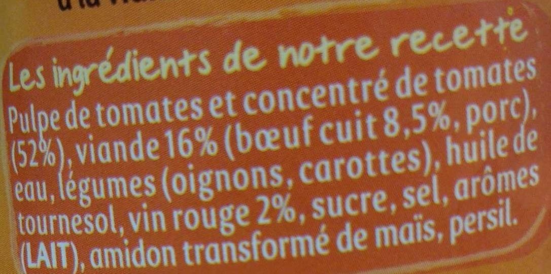 Bolognaise Bourguignonne - Ingrédients