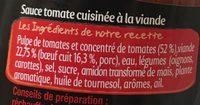 Panzani bolognaise extra riche - Ingrédients