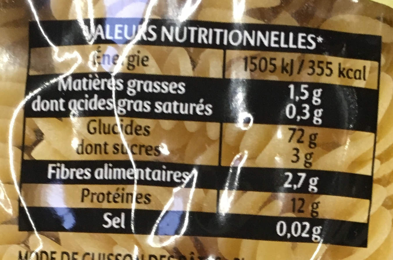 Gourmet Torti - Nutrition facts