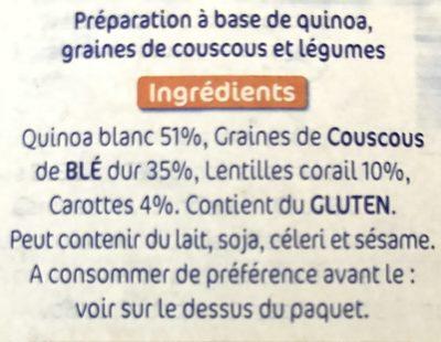 Lustucru quinoa facile quinoa ble lentilles corails carottes - Ingrédients - fr